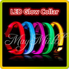 5 Color LED Glow Collar Dog Puppy Pet Tag Flashing Light Nylon leash harness W