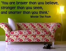 'You are braver than you believe ...' Winnie The Pooh Wall Quote & Wall Sticker.