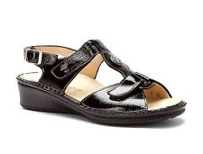 Finn Comfort Women's Adana Patent Leather T Strap Sandals Black Patent 2660