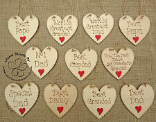 SHABBY CHIC PERSONALISED WOODEN HEARTS FATHERS DAY GIFT DAD PAPA GRANDAD DADS