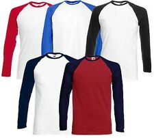 Fruit of the Loom Mens Baseball Long Sleeve T Shirt