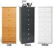 Traditional Wood Tall 7 Drawer Lingerie Cabinet Chest Dresser,Oak,Black,White