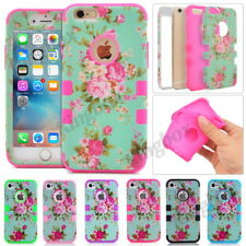 Heavy Duty Shockproof Rubber Matte Floral Hybrid Case For iPhone 4S 5S 5C 6 Plus