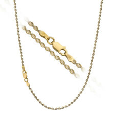 18K Gold over 925 Silver 2.5mm Diamond-Cut Italian 2-Tone Twisted Chain Necklace