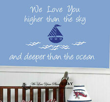 """""""We Love You Deeper Than The Ocean"""" Ship Boat Wall Stickers Kids Nursery Decals"""