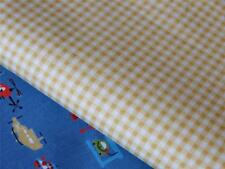 YELLOW CHECK small hatched 100% COTTON poplin fabric material for crafts & dress