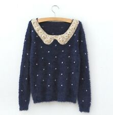 women Casual Round Neck Knitted Cardigan Loose Sweater Knitwear Pullover Tops