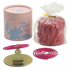 ROSE 50 COIL INCENSE GIFT CAN with BUNNY COIL HOLDER + Free Organza Bag
