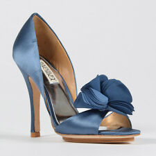 "Badgley Mischka ""Randall"" Blue, Sky Blue, Pink, or Purple Satin Pump with flower"