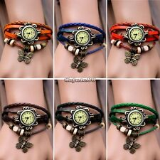 Retro Weave Butterfly Leather Bracelet Watch Lady Woman Quartz Wrist Watch CaF8
