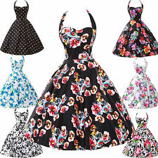 FLORAL POLKA DOTS DRESS PINUP SWING 1950s VINTAGE ROCKABILLY FORMAL DRESS 4593