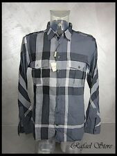Men's Shirts BURBERRY Pewter Check Blue 100 % Cotton Exclusive Luxury New