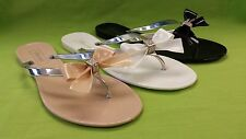 WOMEN'S LADIES JELLY BOW FLIP FLOPS/FLATS/THONG SANDALS NUDE COMFORTABLE