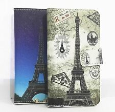 Lovely Eiffel Tower PU Leather Card Holder Wallet Cover Case for Motorola Phones