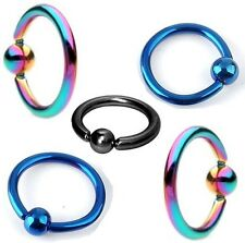 New Anodised Titanium BCR Captive Bead Ring Cartilage Hoop Blue Black Rainbow