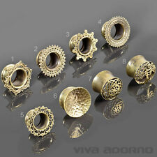 6-18mm Vintage Flesh Tunnel Ethno Plug Messing Antik Look Bali Goa indisch Z434