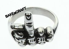 MIDDLE FINGER BIKER MOTORCYCLE PUNK GOTHIC RING