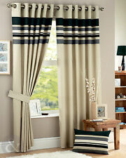 Striped Curtains - Black, Grey & Cream Eyelet Fully Lined Curtain Pair