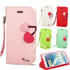 FLIP STAND CHERRY LEATHER WALLET CASE COVER FOR SAMSUNG GALAXY NOTE II 2 N7100