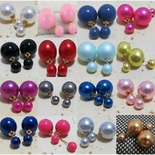 BALL TWO PART DOUBLE FACED FAUX PEARL PLUG BRIDAL EARRINGS - CHOOSE COLOUR!!