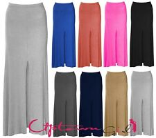 NEW WOMENS LADIES FRONT MIDDLE SPLIT MAXI FLARE LONG BODYCON SKIRT 8-14
