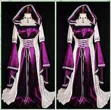 Women Medieval Renaissance Dress Halloween Costume Outfit Hooded Gown Cosplay