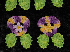 Hand Dyed Crochet Applique Embellishments Roses/Pansy/Flowers w Leaves