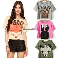 New Women Girl Summer Cute Cartoon Animal Print Short Sleeve T-Shirt Top