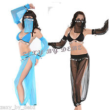 SEXY Belly Dancer Harem Ladies Fancy Dress Costume Complete Outfit size 6-12