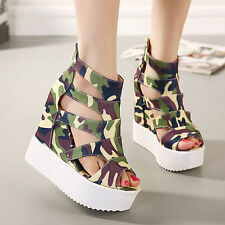 Womens Wedges High Heel Shoes Open toes Sandals camouflage Summer Boots Platform
