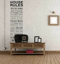 House Rules Family Love Stickers Modern Quote Wall Art Decals Home Decorations