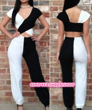 Sexy Womens Clubwear Outfit Cross V-Neck Bodycon Bandage JUMPSUIT BODYSUIT