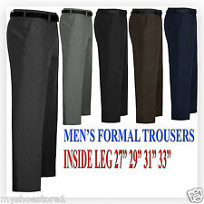 MENS TROUSERS OFFICE BUSINESS WORK FORMAL CASUAL SMART BIG PLUS BELT POCKET PANT