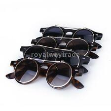 Vintage Steampunk Goggles Goth Retro Flip Up Round Sunglasses Cosplay Prop