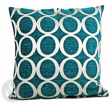 Retro Modern Chenille Cushions - Teal Small and Large Scatter Cushion Covers