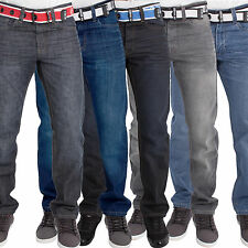 New Mens ENZO Jeans in Dark, Grey & Stone Wash Waist Sizes 28-48 With Free Belt