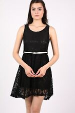 Mimi Floaty Lace Sleeveless Skater Dress With Belt in Black