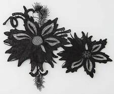 Delicate Two Layer Embroidery Flower  Lace Trim Sewing Applique White Black