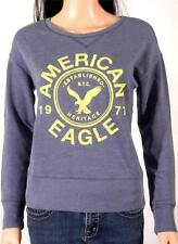 American Eagle Outfitters AE Graphic Crew Sweatshirt Womens Blue Sweater New NWT