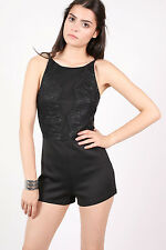 Lucinda Strappy Lace Detail Playsuit in Black