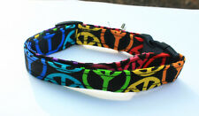 Peace Signs on Black or Brown Dog Pet Cat Collar