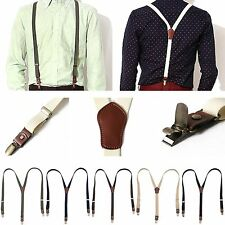 New Mens Women Elastic faux Leather Suspenders Fashion Adjustable Clip-On Braces