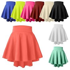 Womens High Waisted Stretch Flared Pleated Plain Mini Skater Skirt Longer Back