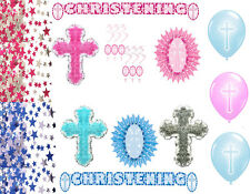 Boys Girls Christening Party Cross Decorations Baptism Blue Pink Banner Confetti