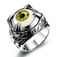 Gothic Green Evil Eye Eyeball Claw Stainless Steel Ring Mens Boys Band Size 7-12