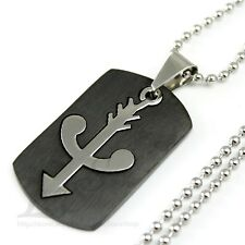 Men Stainless Steel Bow and Arrow 2 in 1 Black Dog Tag Pendant Necklace Cool M17