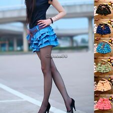 Women's Tiered Floral Gimp Waistband Trim Shorts Skirts Pants Chiffon