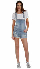 Womens Bib Overall Shorts Faded Destroyed Denim Girls Shortall Size 4 6 8 10 12