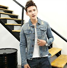 New fashion Men's Slim Fit Hole Ripped Jeans Jackets Cotton Washed Denim Coats