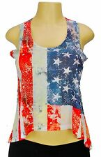 Womens American Crop Top Tank Top high low United States USA Flag